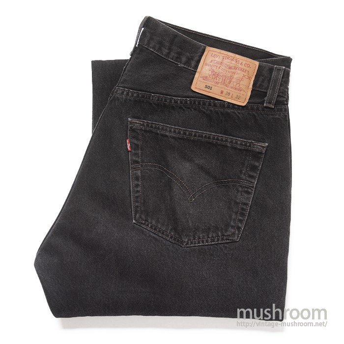 LEVI'S 501 BLACK JEANS(38/32/6BUTTON )