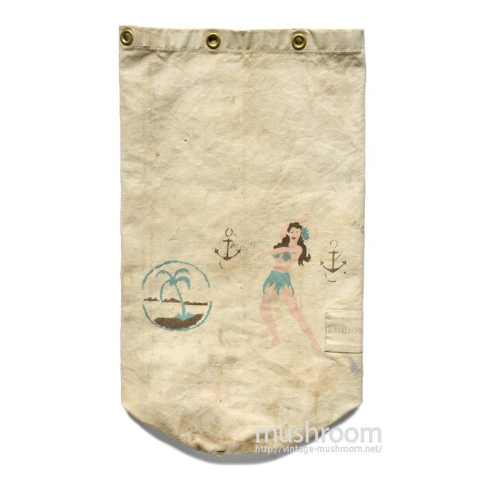 WW2 U.S.NAVY CANVAS DUFFLE BAG WITH HAND-PAINT