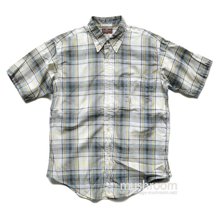 VAN HEUSEN PLAID COTTON S/S BD SHIRT( L/MINT )