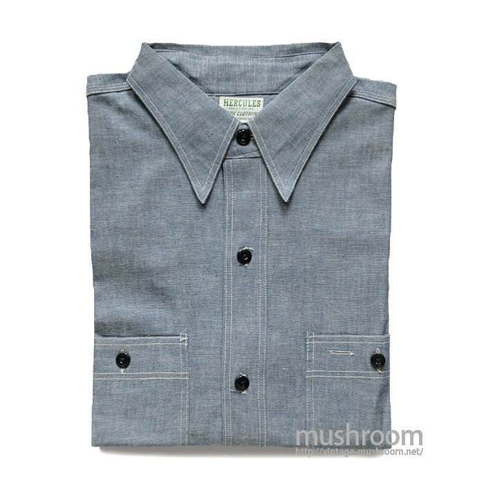 HERCULES S/S CHAMBRAY WORK SHIRT( 15-15 1/2/DEAD )