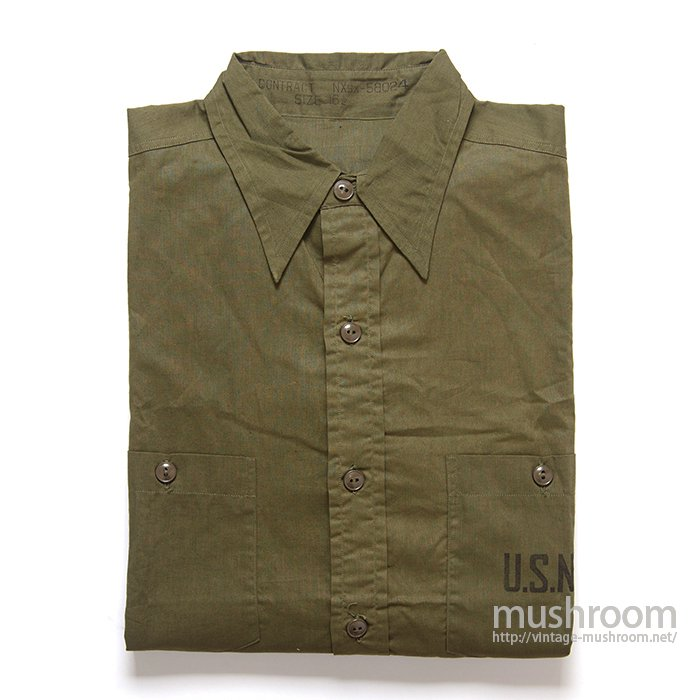 U.S.NAVY POPLIN COTTON UTILITY SHIRT( 16H/DEADSTOCK )
