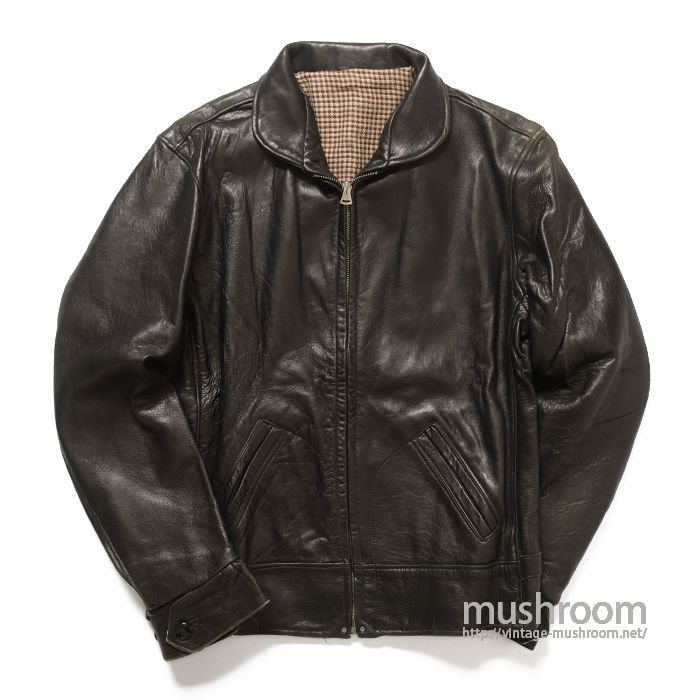OLD BLACK LEATHER SPORTS JACKET( 40/DEADSTOCK )