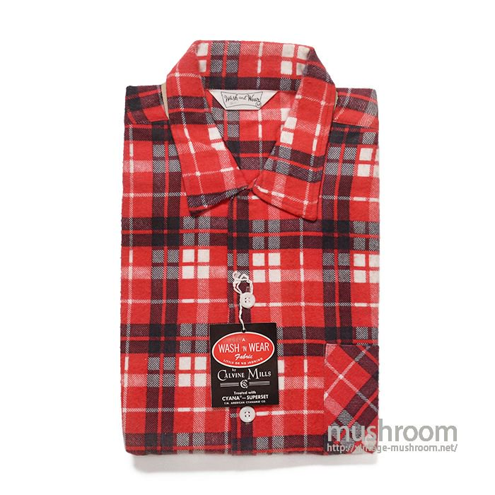 WASH&WEAR PRINT PLAID FLANNEL BOX SHIRT( M/DEADSTOCK )