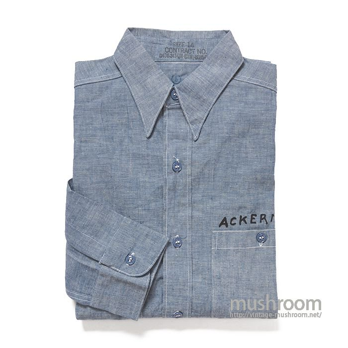 U.S.NAVY CHAMBRAY SHIRT WITH STENCIL( 14/DEADSTOCK )