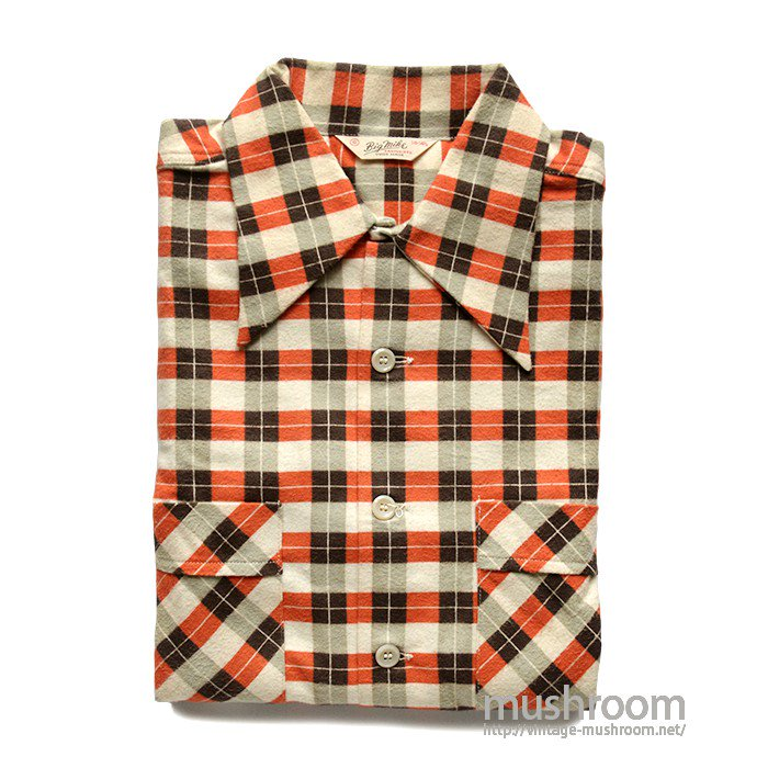 BIG MIKE PRINT PLAID COTTON BOX FLANNEL SHIRT( S/DEADSTOCK )