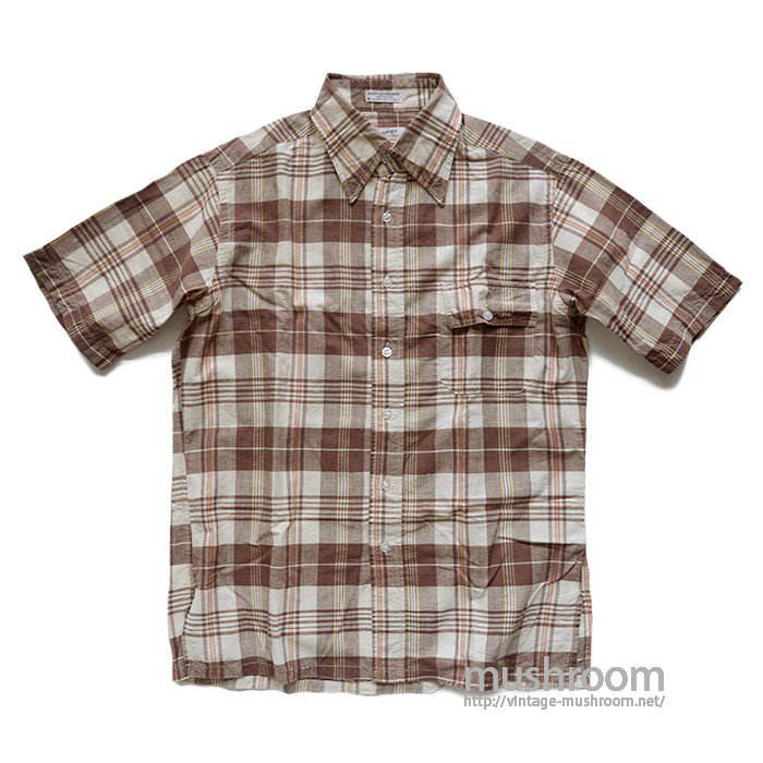 HATHAWAY  MADRAS PLAID COTTON SHORT SLEEVE SHIRT