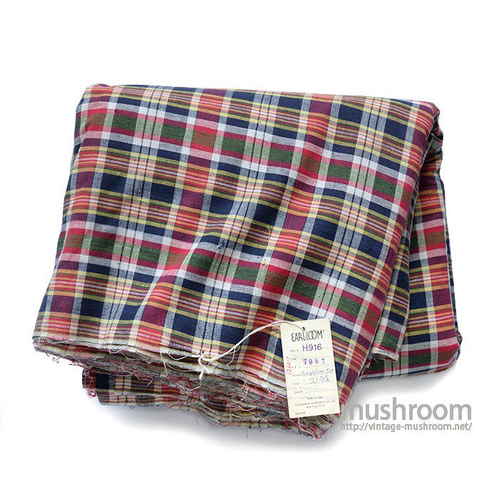 OLD INDIA MADRAS PLAID COTTON FABRIC( DEADSTOCK )