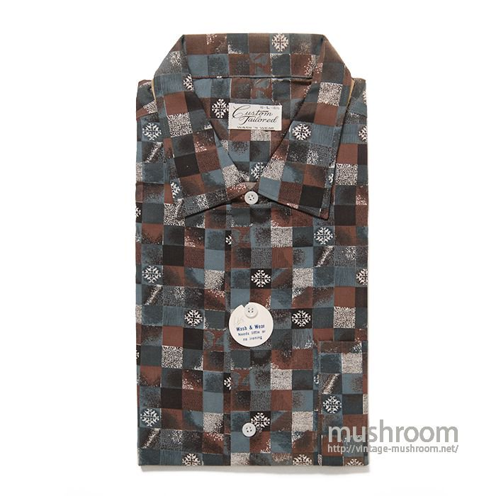 CUSTOM TAILORED PRINT PLAID COTTON BOX SHIRT( L/DEADSTOCK )