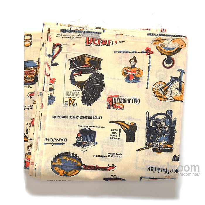OLD DEPARTMENT CATALOG PATTERN COTTON FABRIC( DEADSTOCK )