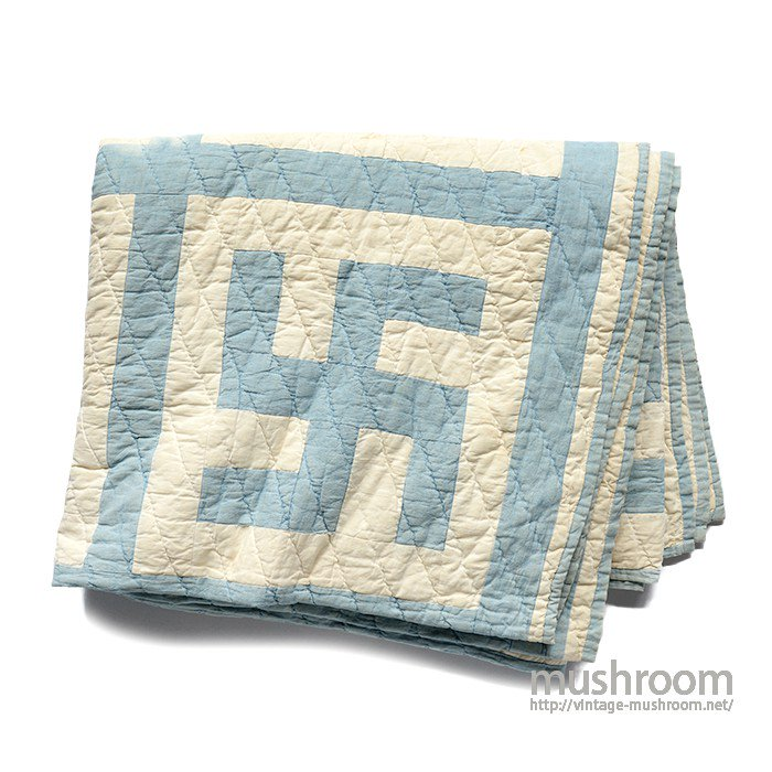 OLD CALICO PATHWORK QUILT WITH SWASTIKA