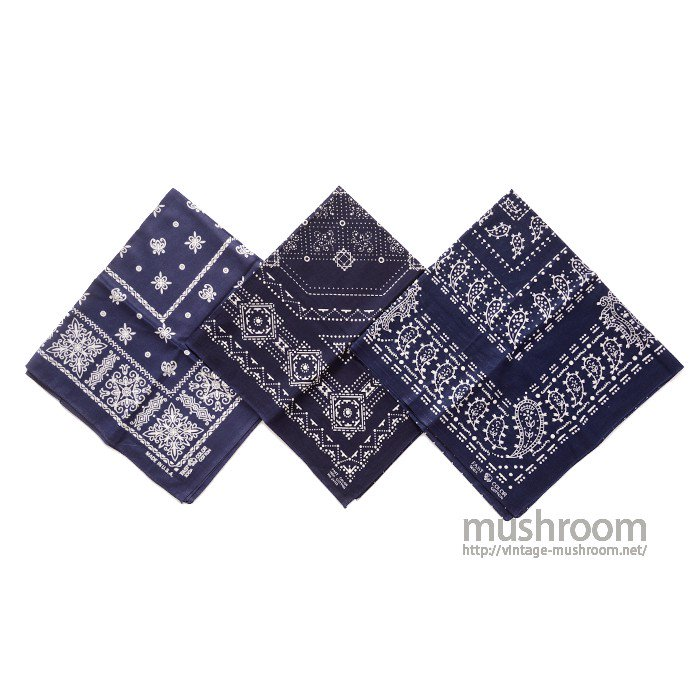 NAVY COLOR 3SET BANDANAS( DEADSTOCK )