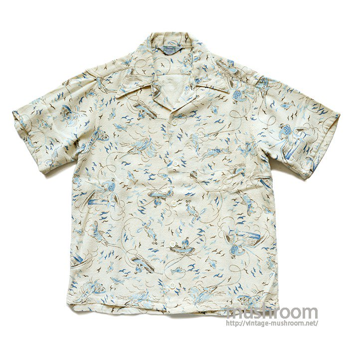 TOWNCRAFT FISHING PATTERN COTTON S/S SHIRT