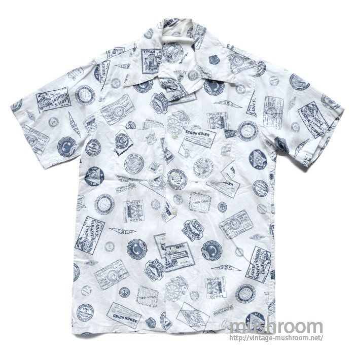 UNION LABEL PRINT COTTON S/S SHIRT