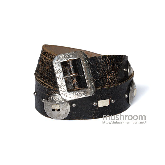 OLD STUDDED LEATHER BELT