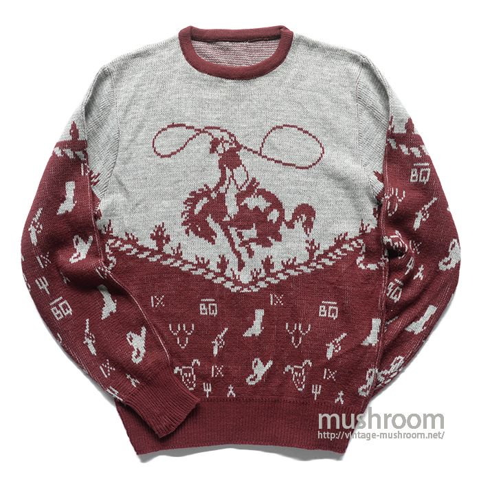COWBOY PATTERN JACQUARD SWEATER