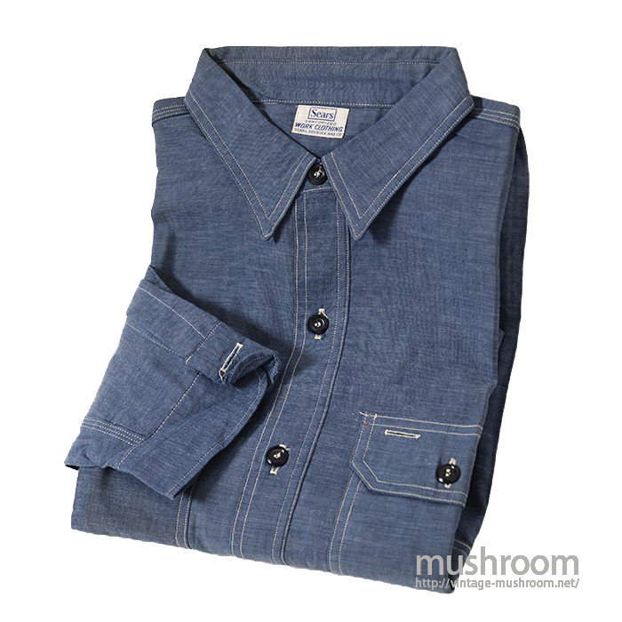 SEARS BLUE CHAMBRAY WORK SHIRT(DEADSTOCK)