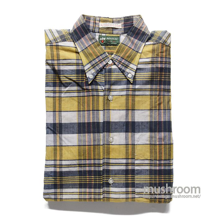 DONEGAL PLAID MADRAS COTTON L/S BD SHIRT( M/DEADSTOCK )