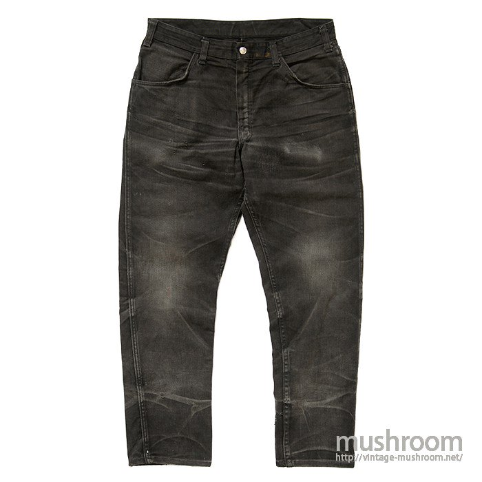 OLD DICKIES BLACK COTTON TWILL TAPERED PANTS