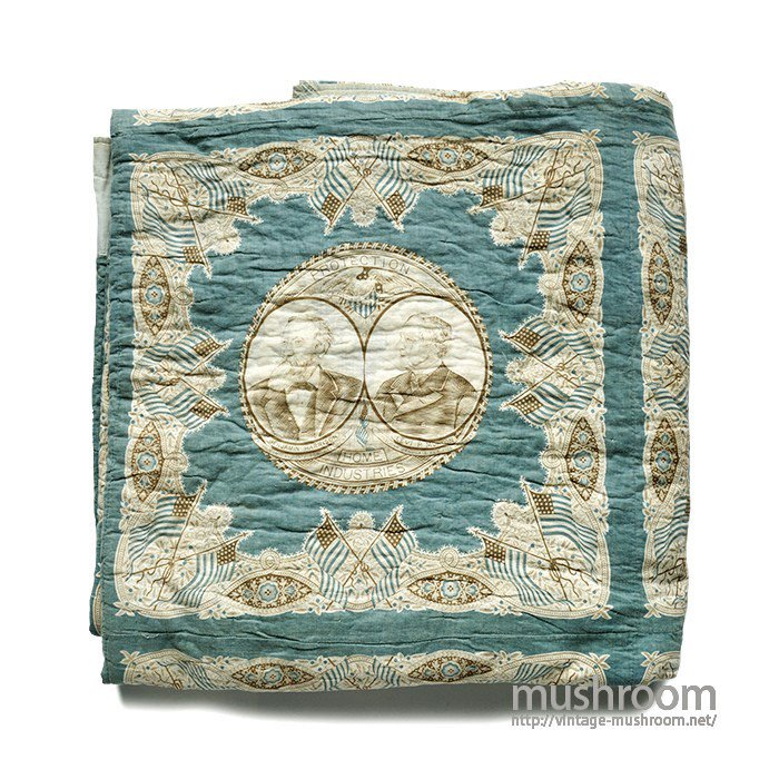 ANTIQUE PRESIDENT INDIGO BANDANA PATHWORK QUILT( MINT )