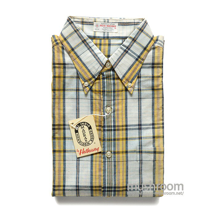 HATHAWAY PLAID MADRAS COTTON S/S BD SHIRT( M/DEADSTOCK )