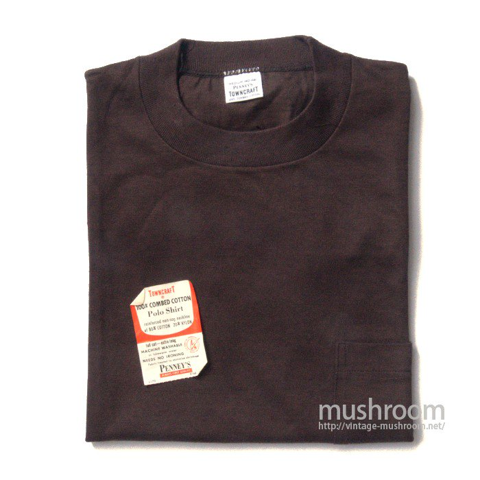 PENNEY'S TOWNCRAFT BROWN COTTON POCKET T-SHIRT( M/DEADSTOCK )