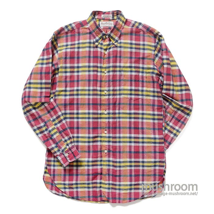 MARSHALL FIELD PLAID MADRAS COTTON L/S BD SHIRT( M/MINT )