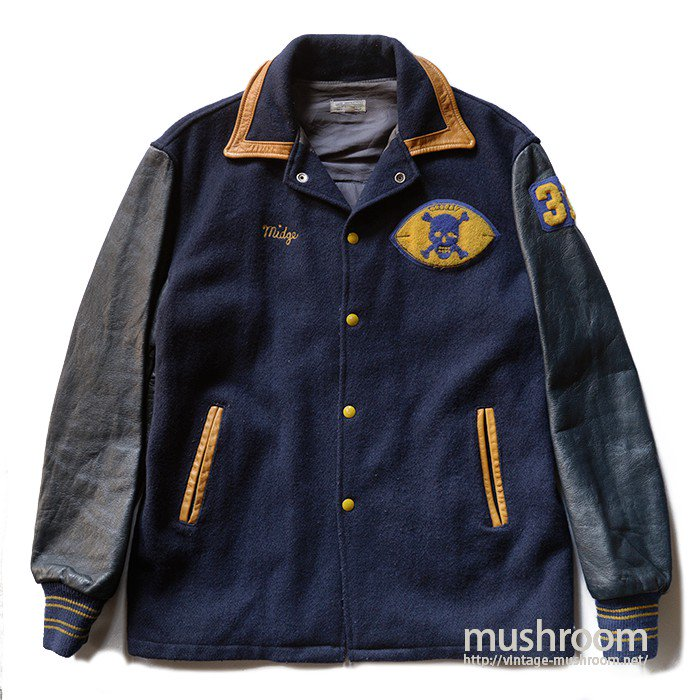 OLD TWO-TONE AWARD JACKET WITH SKULL PATCH