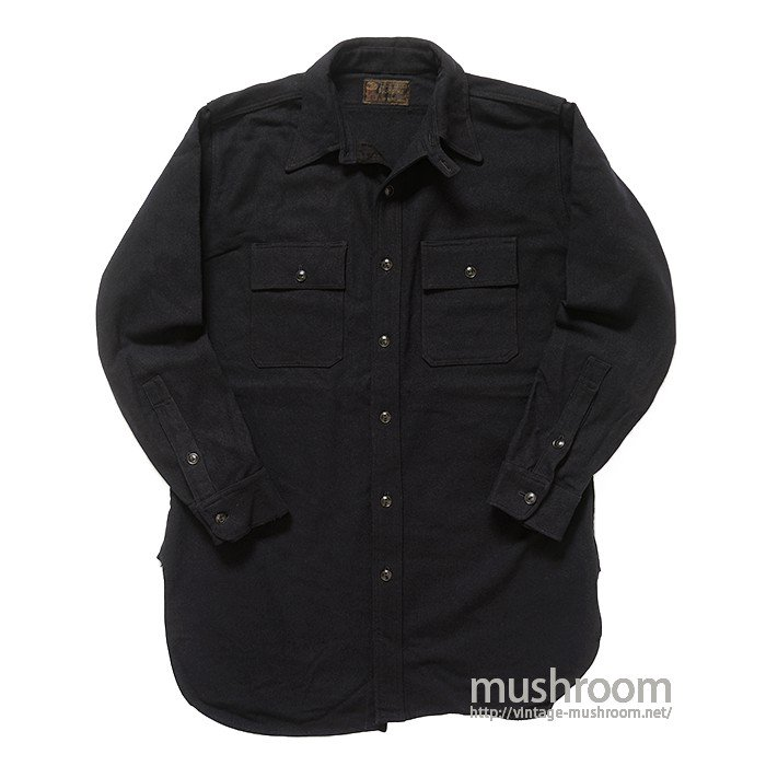 OLD BLACK WOOL SHIRT WITH CHINSTRAP