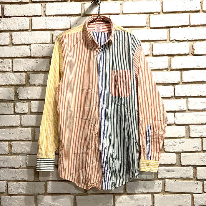 BROOKS BROS CRAZY STRIPE BD SHIRT( 15-R )