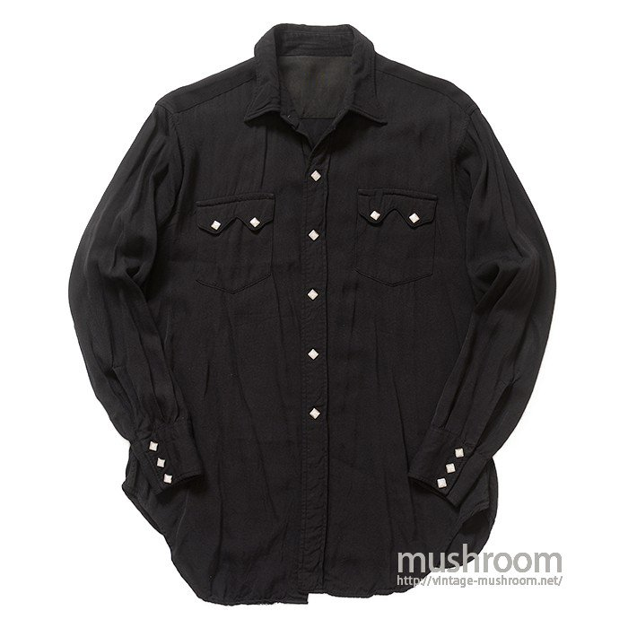 UNKNOWN BLACK RAYON WESTERN SHIRT