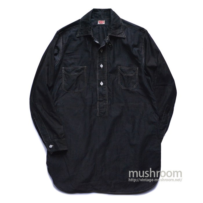 C.B.C BLACK COTTON PULLOVER WORK SHIRT