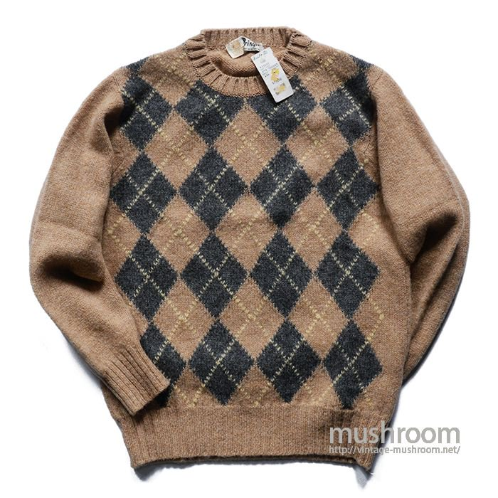 PRINGLE ARGYLE PATTERN SWEATER( 38/DEADSTOCK )