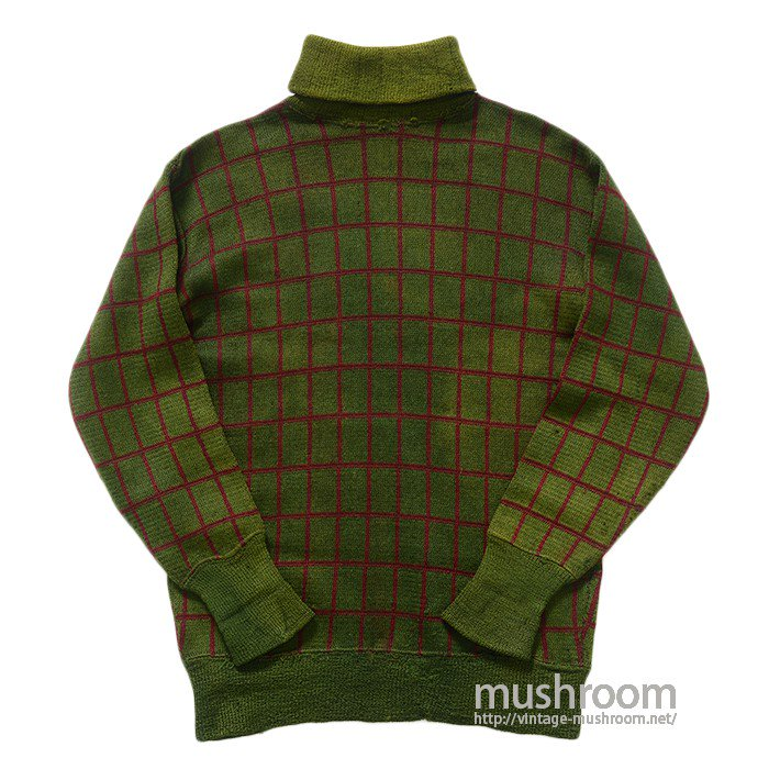 OLD WIND PEN CHECK TURTLE-NECK SWEATER
