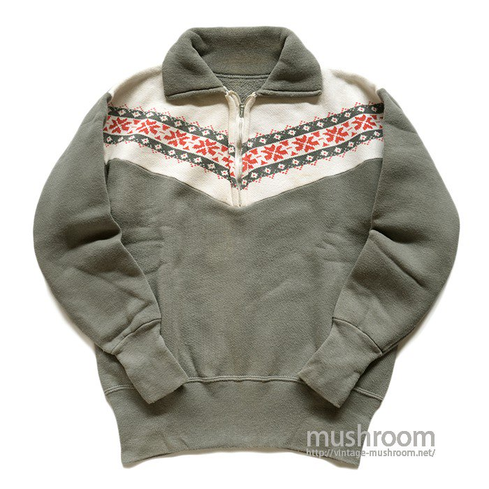 OLD SNOW PATTERN HALF-ZIP SWEAT SHIRT( MINT )