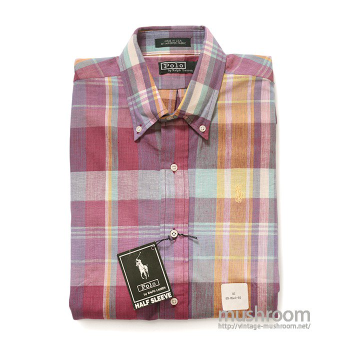 POLO BY RALPH LAUREN PLAID MADRAS COTTON S/S BD SHIRT( DEADSTOCK )