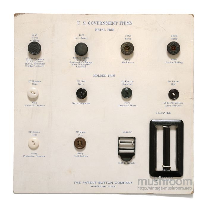 U.S.GOVERMENT ITEMS( THE PATENT BUTTON COMPANY )