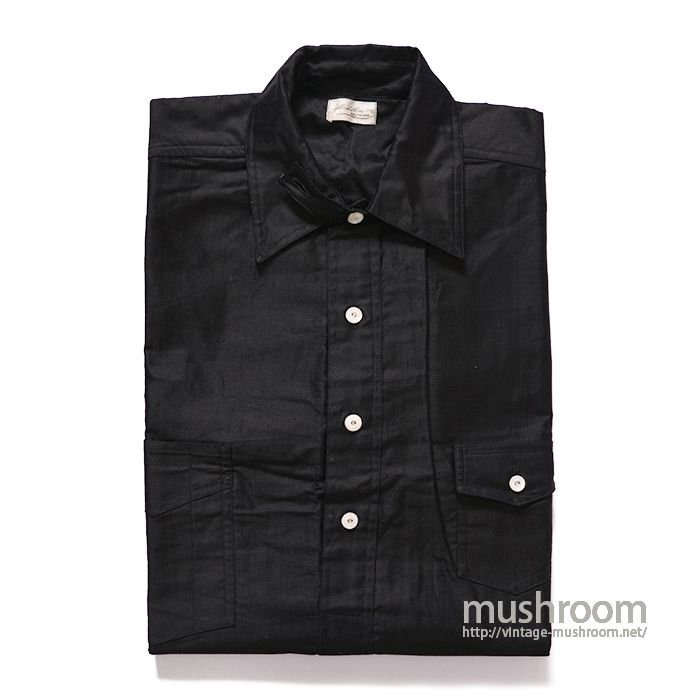 OLD BLACK COTTON PULLOVER WORK SHIRT( 14H/DEADSTOCK )