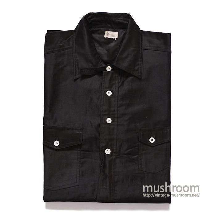 OLD BLACK COTTON PULLOVER WORK SHIRT( DEADSTOCK )