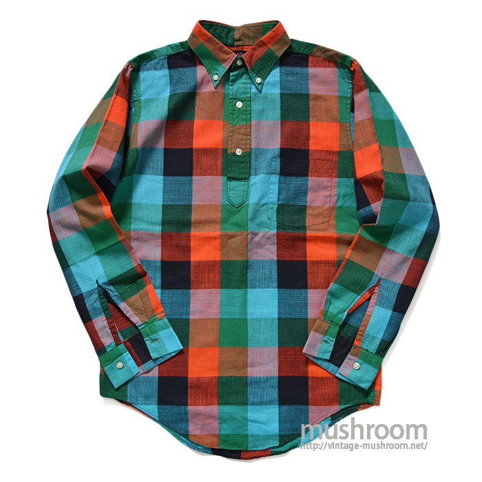 CAMPUS PLAID  PULLOVER COTTON L/S BD SHIRT( S/MINT )