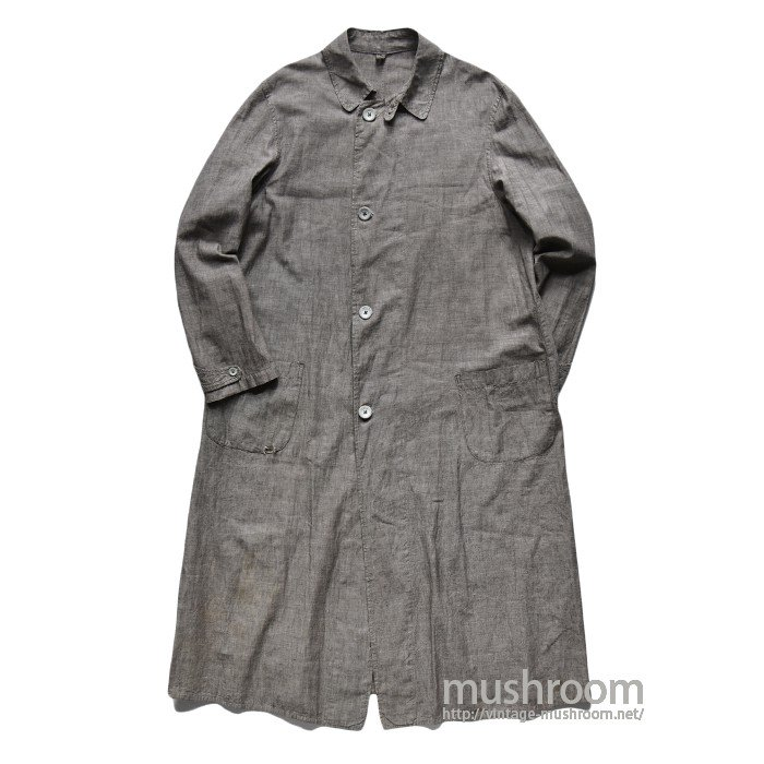 OLD GRAY CHAMBRAY DUSTER COAT WITH CHINSTRAP