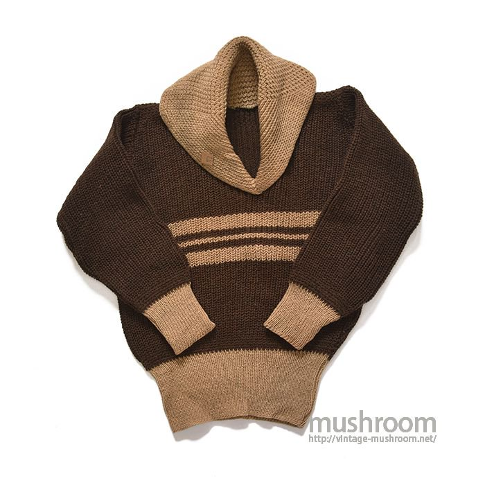 OLD TWO-TONE SHAWLCOLLER SWEATER( DEADSTOCK )