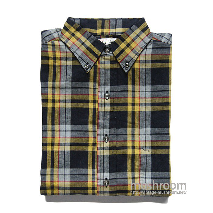 ELLECO PLAID MADRAS COTTON L/S BD SHIRT( S/DEADSTOCK )