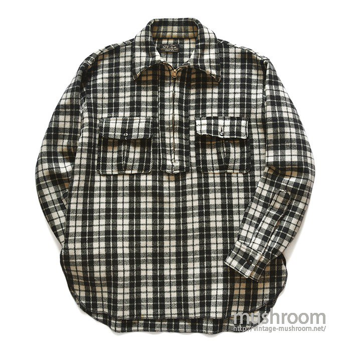 UTICA HALF-ZIP PLAID WOOL SHIRT( MINT )