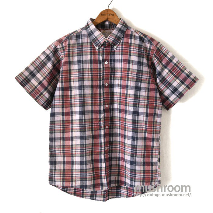 OLD MADRAS PLAID COTTON SHORT SLEEVE BD SHIRT