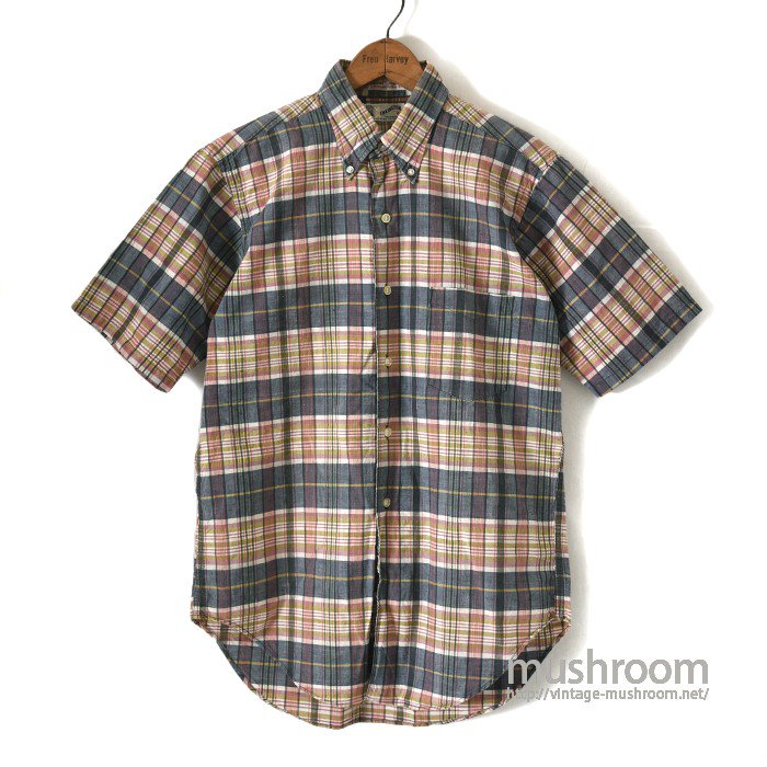 KENNINGTON MADRAS PLAID COTTON S/S BD SHIRT(M/MINT)