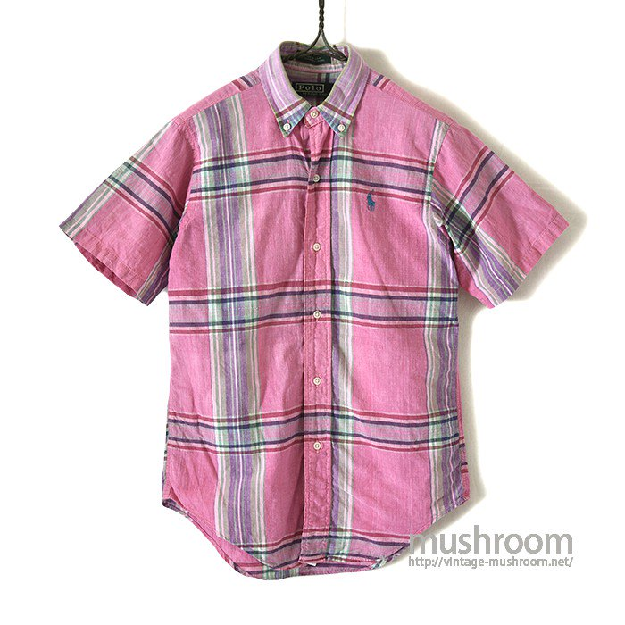 RALPH LAUREN MADRAS PLAID COTTON S/S BD SHIRT(KID'S)