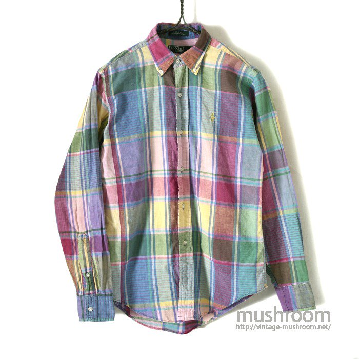 RALPH LAUREN MADRAS PLAID COTTON L/S BD SHIRT(KID'S)