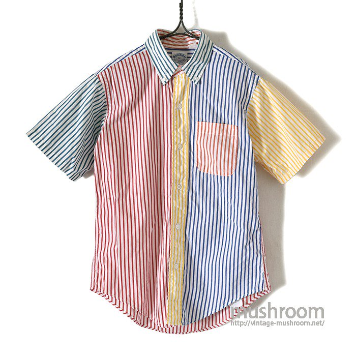 BROOKS BROS CRAZY STRIPE COTTON S/S BD SHIRT(KID'S)