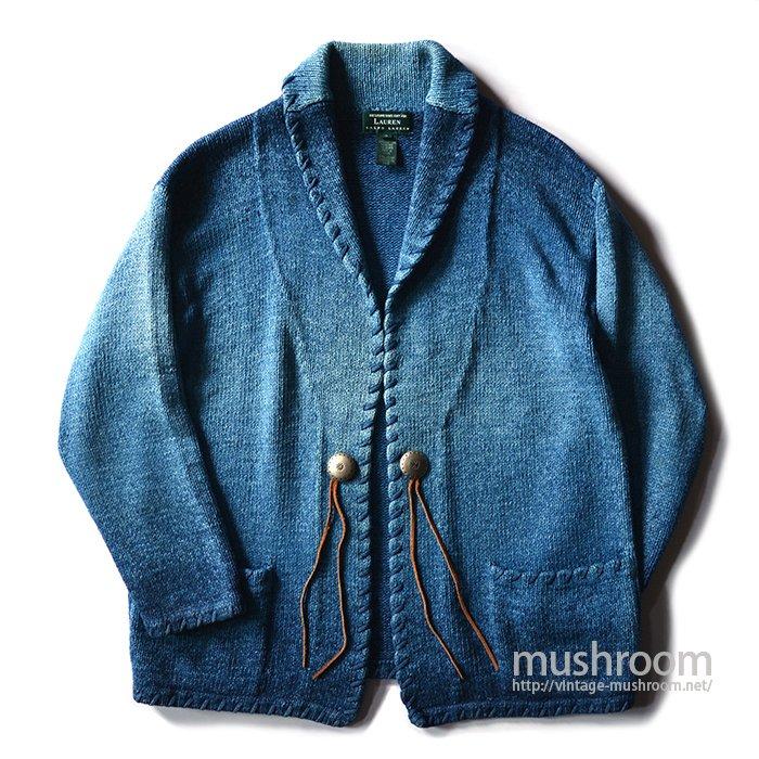 RALPH LAUREN  HAND-KNIT CARDIGAN( INDIGO COLOR )
