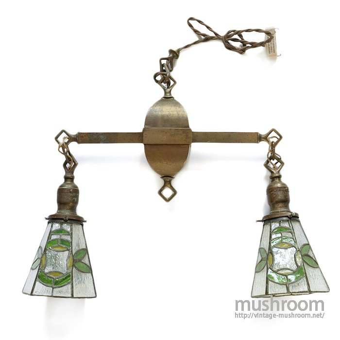 ANTIQUE W/STAINED GLASS CEILING LAMP